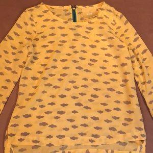 Maeve Anthropologie yellow silk blouse xs